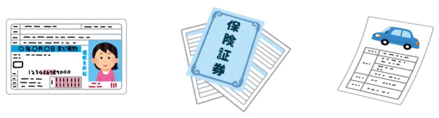 自動車保険の準備書類の免許証と保険証券と車検証の画像